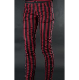 Ladies Black Red Striped Skinny Pants 5 Button Trousers Cheap Shipping