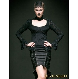 Black Lace And Cotton Long Sleeves Gothic Sexy Shirt For Women T 368