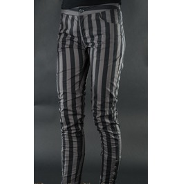 Ladies Black Gray Striped Skinny Pants 5 Button Trousers Cheap Shipping