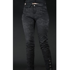 Ladies Black Brocade Skinny Pants 5 Ankle Button Trousers Cheap Shipping