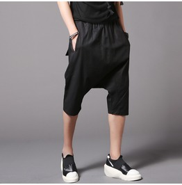 Hip Hop Men's Black Harem Shorts Summer Short Trousers