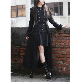 Black Double Breasted Gothic Long Coat For Women M070082