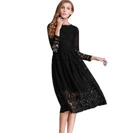 Women's Lace Hollow Out Long Bohemian Casual Dress