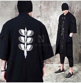 Bird Wing Embroidered Black Elbow Coat 135