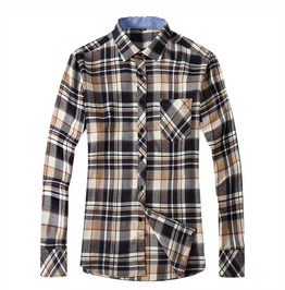 Flannel Plaid Fashion Long Sleeve Dress Shirt