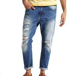 Distressed Ripped Ankle Length Casual Vintage Denim Jeans Men
