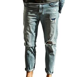Distressed Ripped Light Washed Ankle Length Slim Fit Biker Denim Jeans Men