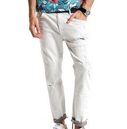Light Washed Distressed Ripped Ankle Length Slim Fit Biker Denim Jeans Men