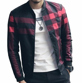 Plaid Stand Collar Bomber Jacket Men Plus Size