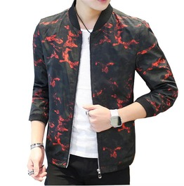 Slim Fit Camo Printed Stand Collar Casual Bomber Jacket