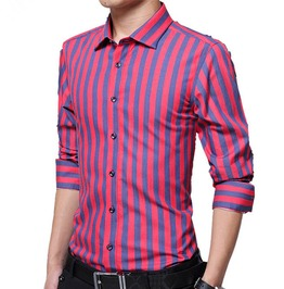 Striped Long Sleeve Slim Fit Dress Shirt