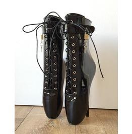 8cm Fetish Lockable Ballet Boots Padlock Restrain Slave Patent Black