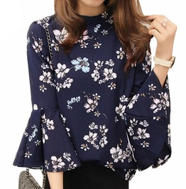 Women Chiffon Flora Print Three Quarter Flare Sleeve Top