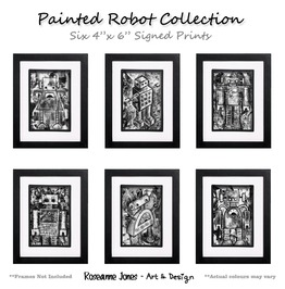 Painted Robot 6 X Signed Prints Roseanne Jones