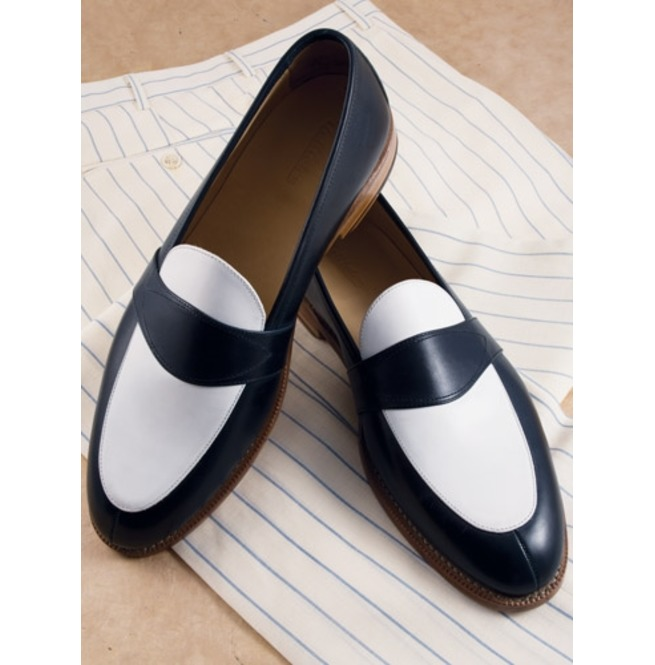 b1416d3b75a Handmade Men Black And White Leather Shoes