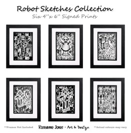 Robot Sketches 6 X Signed Prints Roseanne Jones