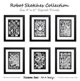Robot Sketches 6 X Signed Prints Roseanne Jones