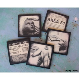 Area 51, Set Of 5 Wooden Coasters, Alien, Roswell, Scifi, Horror, Geek