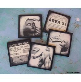 Area 51, Set Of 5 Wooden Coasters, Alien, Roswell, Scifi, Horror, Geek