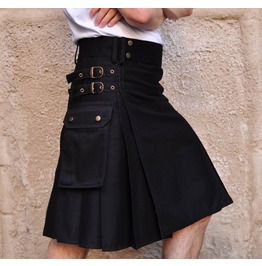100% Cotton Gothic Kilt For Men Black Goth Cargo Pocket Kilt Punk Kilt
