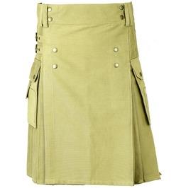 100% Cotton Gothic Kilt For Men Khaki Goth Cargo Pocket Kilt Punk Kilt