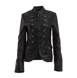 Women's Black Military Style Fashion Leather Jacket Black Blazer Coat