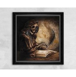 Giclee Print Of An Evil Skeleton Scribe Writing With A Feather Pen