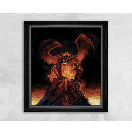 Giclee Print Of A Fiery Monster On Top Of A Volcano