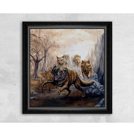 Giclee Print Of A Pack Of Angry Wolves
