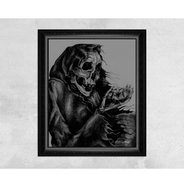Giclee Print Of A Skeleton Holding A Diamond