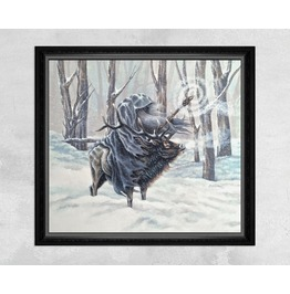 Giclee Print Of A Winter Wizard Riding On An Elk While Summoning A Blizzard