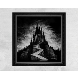 Giclee Print Of A Black Vampire Castle On A Mountain