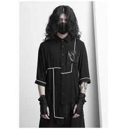 New Arrival Runway Fashion Men's Linen Irregular Shirts Summer Tops