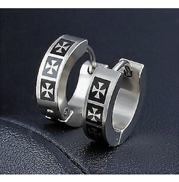 Punk Rock Unisex Metal Three Laser Printed Cross Huggie Hoop Stud Earrings