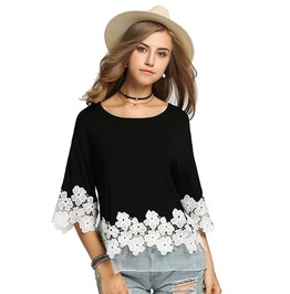 Women's 3/4 Batwing Sleeve Casual Floral Lace Top Plus Size