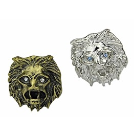 Punk Rock Unisex Antique Retro Vintage Lions Head Crystal Eye Cocktail Ring