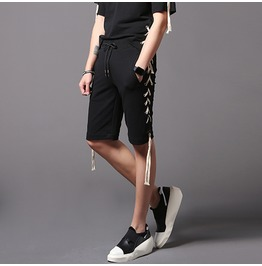 New Mens Casual Shorts Pants Black Lace Up Trouser