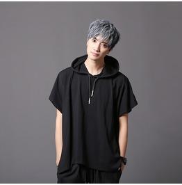 Hip Hop Men's Black Hooded Casual T Shirts