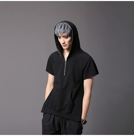 Hip Hop Hooded T Shirt Short Sleeve Summer Casual Tops Tees