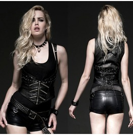Women Fashion Gothic Vest Shirt Sexy Women Leather Corset Top Vest Shirt