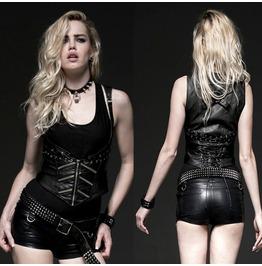 Women Fashion Gothic Vest Shirt Sexy Women Leather Corset Top Vest Shirt