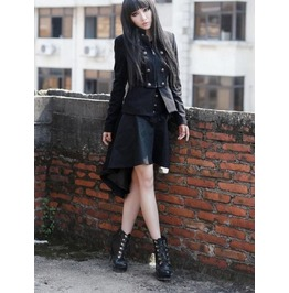 Black Double Breasted Short Gothic Jacket For Women Pt 0096