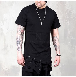 Symmetric Eyelet Hem Accent Black T Shirts 705