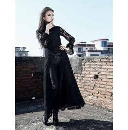 Black Lace Gothic Trench Coat For Women Pt 0102