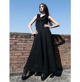 Black Sleeveless Hooded Gothic Trench Coat For Women M080011