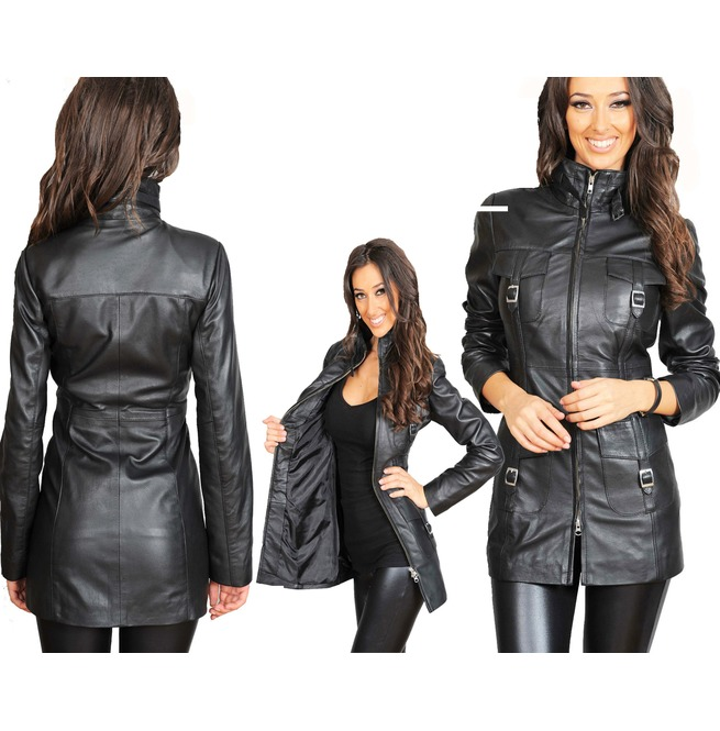 d4f3e440bb96 Women Vintage Soft Washed Real Leather Jacket Women