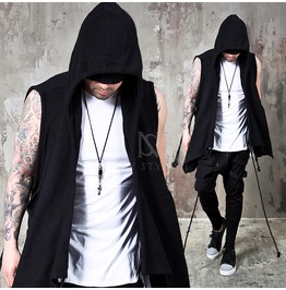 Long Strap Attached Draping Shawl Sleeveless Black Hoodie 146