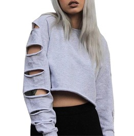 Women's Sexy Sweatshirt Long Sleeved Holed Crop Top Plus Size