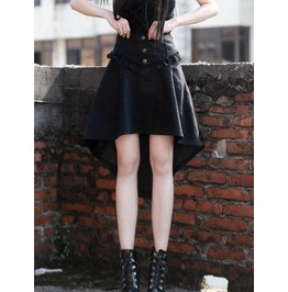 Black High Waist High Low Gothic Skirt J030081