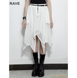 White Gothic Bat Irregular Skirt Pq 149 Wh